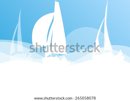 Sailing yacht race vector background transportation competition concept in light blue and white colors - stock vector