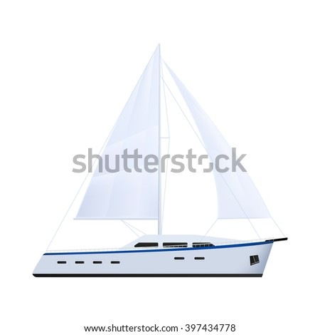 Sailing yacht with a motor. Sea or river ship, flat icon. Sea and river vehicles. Isolated on white background. - stock vector