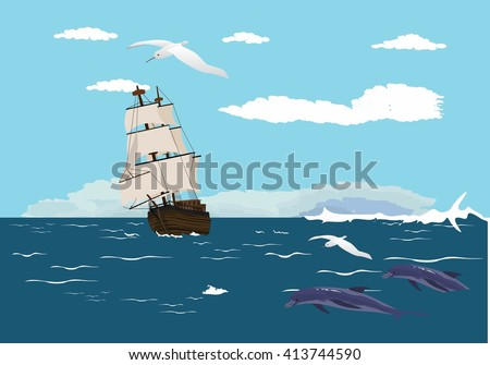 Sailng ship with white sails on ocean wave - stock vector