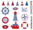 Sailor and sea icons isolated on white - stock photo