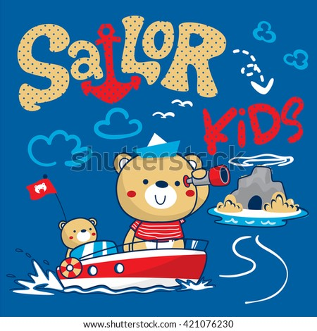 Sailor bear and his brother finding treasure near small island illustration vector. - stock vector