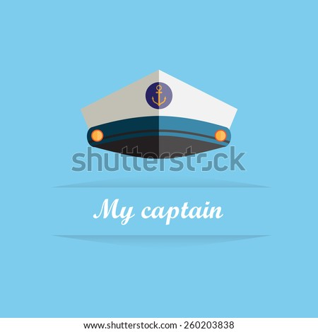 Sailor cap flat icon on blue background  - stock vector