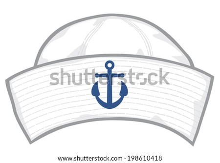 sailor cap (sailor hat with blue anchor) - stock vector