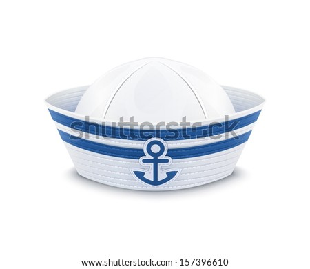 Sailor cap. vector illustration isolated on white background EPS10. Transparent objects and opacity masks used for shadows and lights drawing - stock vector