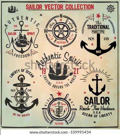 Sailor Design Collection - stock vector
