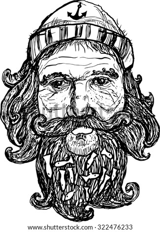 Sailor, fisherman. Vector hand drawn illustration. May be used for t-shirt design.