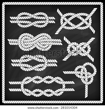 Sailor knot set. Chalk board effect. Corner element. Rope frame border. Tying the knot. Graphic design element for wedding invitations, baby shower, birthday card, scrapbooking, logo etc.  - stock vector
