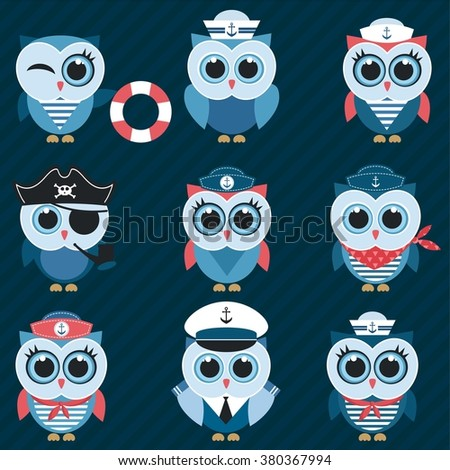 sailor owls and owlets - stock vector