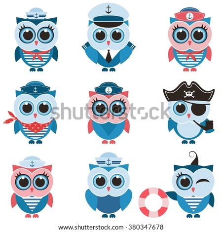 sailor owls and owlets set - stock vector