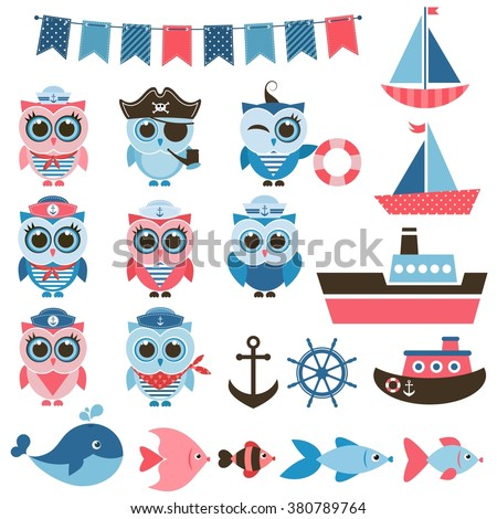 sailor owls, fish and water transport - stock vector