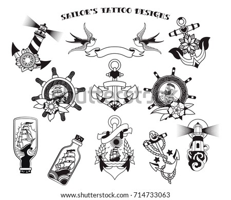 sailors tattoo designs stock vector royalty free 714733063