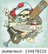 Sailor skull logo design - Sailing Collection, Vector Illustration with sample text - stock photo