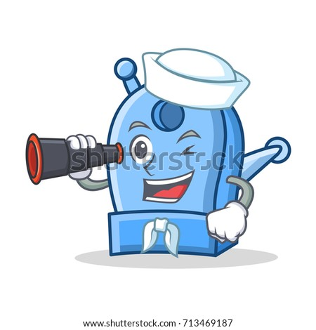 Sailor with binocular pencil sharpener character cartoon