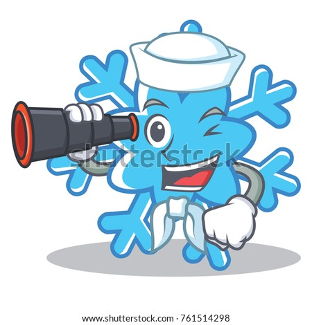 Sailor with binocular snowflake character cartoon style