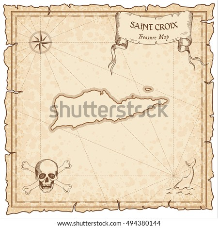 Saint Croix old pirate map. Sepia engraved parchment template of treasure island. Stylized manuscript on vintage paper.