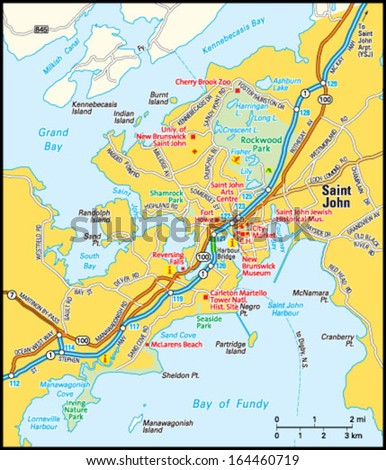 Saint John New Brunswick Area Map Stock Vector 164460719 Shutterstock