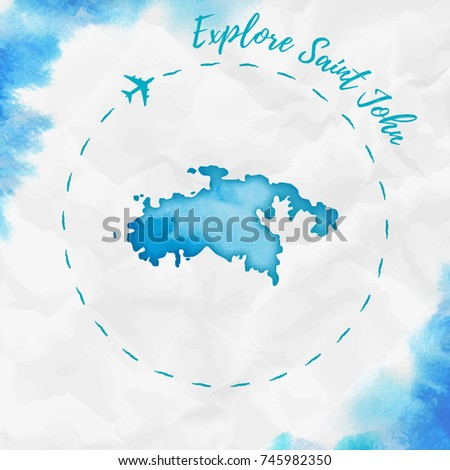 saint john watercolor island map in turquoise colors travel poster with airplane trace and handpainted