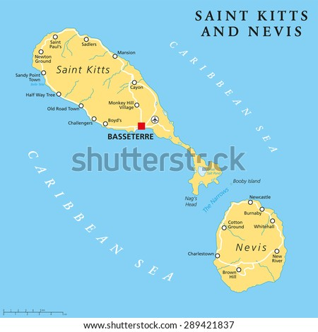 West indies map stock images royalty free images vectors saint kitts and nevis political map with capital basseterre is a two island country in gumiabroncs Image collections