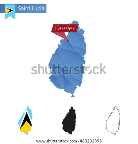Saint Lucia blue Low Poly map with capital Castries, versions with flag, black and outline. Vector Illustration. - stock vector
