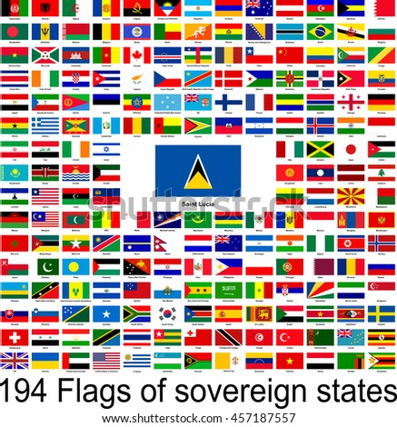 Saint Lucia, collection of vector images of flags of the world