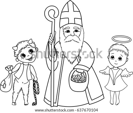 St Nicholas Devil Little Angel Stock Vector 637670098 Shutterstock
