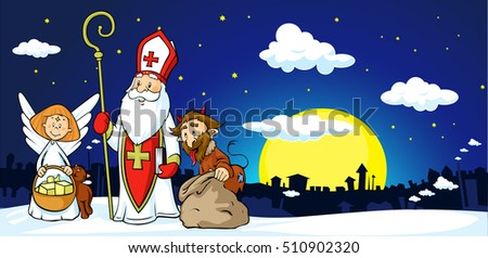 Saint Nicholas, devil and angel in town - vector illustration .During the Christmas season they are warning and punishing bad children and give gifts to good children.