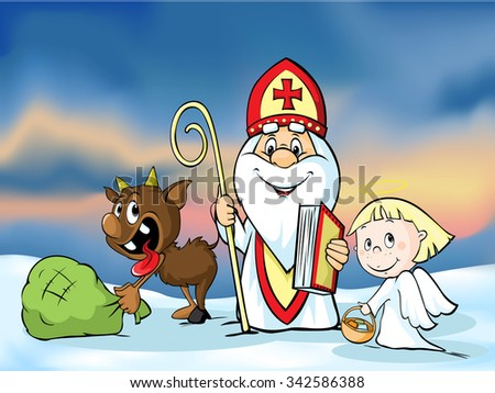 Saint Nicholas, devil and angel - vector illustration.  During the Christmas season they are warning and punishing bad children and give gifts to good children. - stock vector