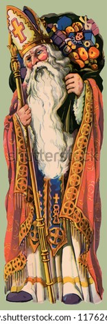 Saint Nicholas in his guise as the patron Saint of Christmas