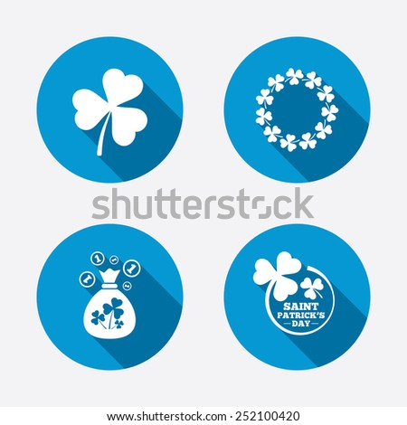 Saint Patrick day icons. Money bag with clover sign. Wreath of trefoil shamrock clovers. Symbol of good luck. Circle concept web buttons. Vector - stock vector