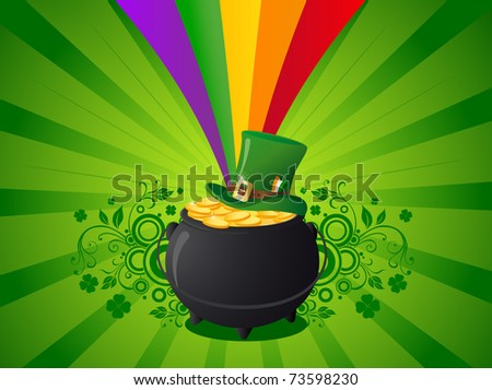 Saint Patrick�s Day Background Background featuring pot of gold, and leprechaun hat - stock vector