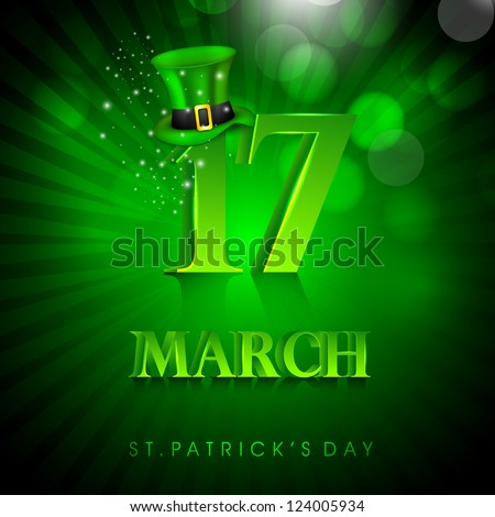 Saint Patrick's Day background or greeting card with Leprechaun Hat on green rays background. EPS 10. - stock vector