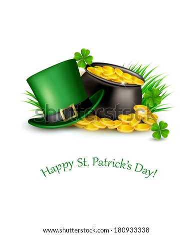 Saint Patrick's Day background with a green hat and gold coins in a cauldron. Vector illustration.  - stock vector