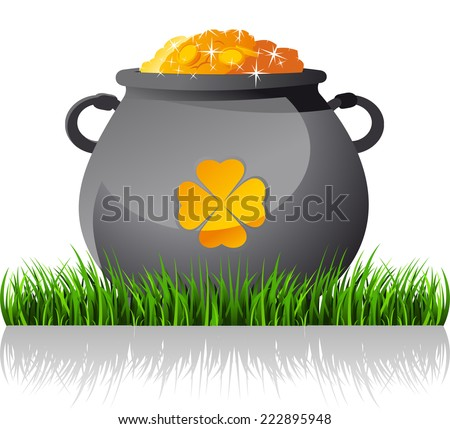 Saint patrick�´s Day cartoon elf gold coin pot illustration - stock vector