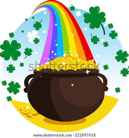 Saint patrick�´s Day cartoon elf gold coin pot rainbow illustrat - stock vector