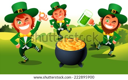 Saint patrick�´s Day cartoon elves dance illustration - stock vector