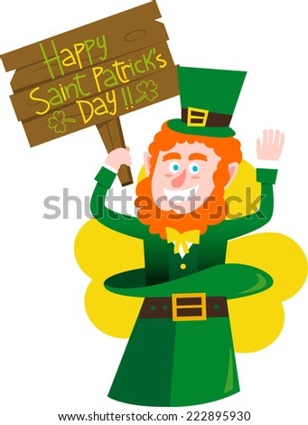 Saint patrick�´s Day elf holdig banner - stock vector