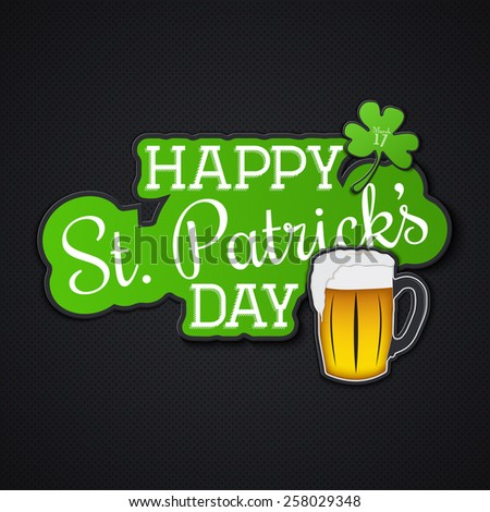 Saint Patrick's Day. Irish holiday. Label or card paper. Flat vector illustration - stock vector