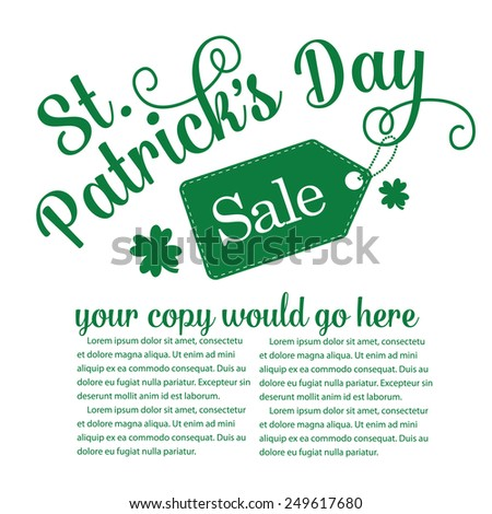 Saint Patrick�s Day sale advertising template background EPS 10 vector royalty free vector stock illustration - stock vector