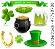 Saint Patrick's Day symbols vector set  isolated on white. - stock photo