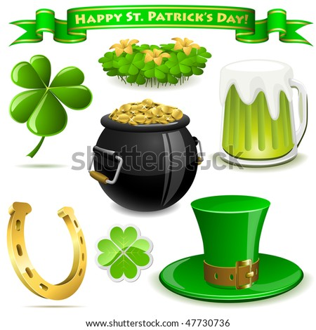 Saint Patrick's Day symbols vector set  isolated on white. - stock vector