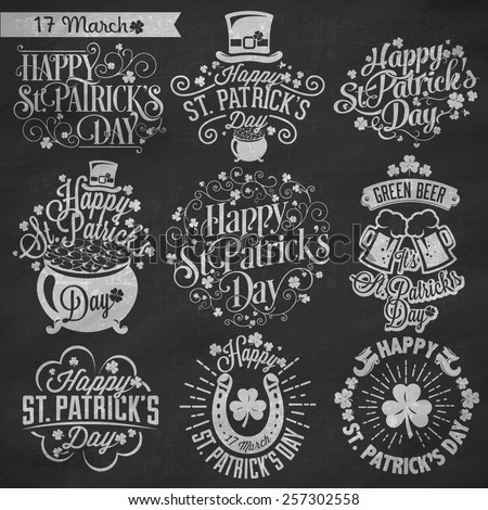 Saint Patrick's Day Typographic Design Badges Set On Chalkboard - stock vector