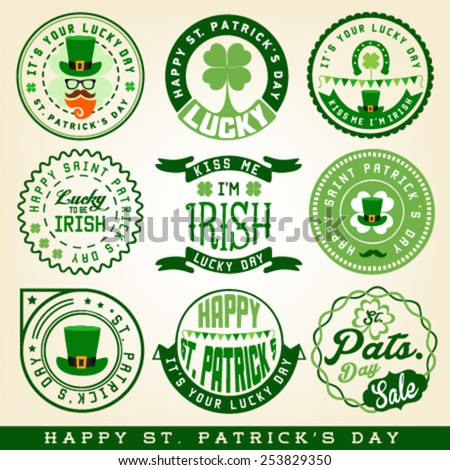 Saint Patrick's Day Typographical Design Elements and Badges - stock vector