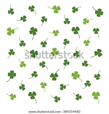 Saint Patrick's Day vector backdrop. Saint Patrick's Day pattern with clover. Three and four clover leaf pattern for Saint Patrick's Day. Template backdrop with chaotic clover for Saint Patrick's Day. - stock vector