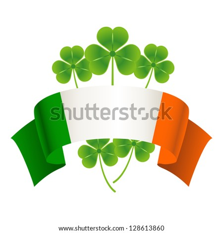 Saint Patrick's Day. Vector holiday concept with Irish national flag. - stock vector