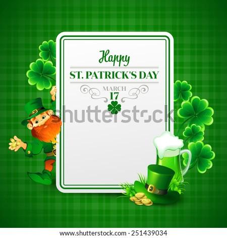 Saint Patrick's day vector illustration with Leprechaun. - stock vector