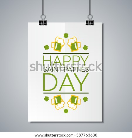 Saint Patricks Day Flat Style Typographical Element with  Green Beer and Shamrocks. Happy saint patties day. Poster Mockup Template with Lettering Element.  - stock vector