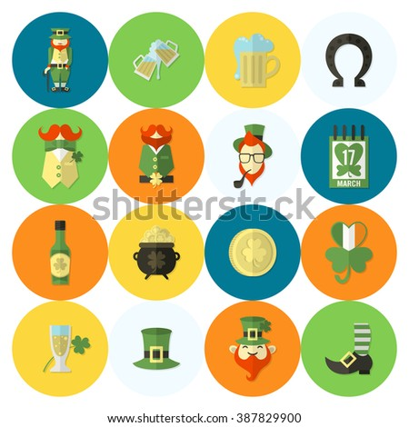 Saint Patricks Day Icon Set. Vector. Clean Work Minimum Points - stock vector