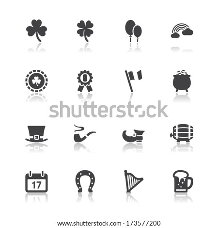 Saint Patricks Day Icons with White Background - stock vector