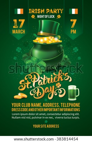 Saint Patricks Day Invitation Card Design with Treasure of Leprechaun on Blurred Green Background. Calligraphic Lettering Inscription Happy St Patricks Day. Vector Illustration.  - stock vector