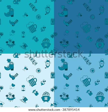 Saint Patricks Day Seamless Pattern. Four Background in Different Colors. Vector. Clean Work Minimum Points - stock vector